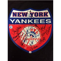 NY YANKEES AUTOGRAPHED LOGO SHIELD BY 16 PLAYERS )GOSSAGE, NETTLES, RICHARDSON, MURCER W/ COA