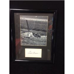 "EDDIE ARCARO AUTOGRAPHED LYING IN THE MUD AFTER A HORSE THREW HIM FRAMED 12"" X 16"" PHOTO (JSA)"