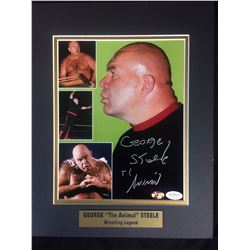 "GEORGE ""THE ANIMAL"" STEELE AUTOGRAPHED 11"" X 14"" MATTED PHOTO (JSA & STACKS OF PLAQUES)"