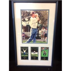 "NICK FALDO AUTOGRAPHED 8"" X 10"" FRAMED  PHOTO W/ PHOTO COLLAGE (MOUNTED MEMORIES COA)"