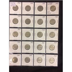1968 CANADIAN 25 CENT SILVER COIN LOT (20 PIECES)