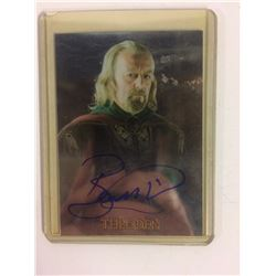 BERNARD HILL AUTOGRAPHED TOPPS CHROME LORD OF THE RINGS TRADING CARD