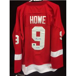 "GORDIE HOWE AUTOGRAPHED RED WING JERSEY WITH INSCRIBE ""MR. HOCKEY"" (AL HOLOGRAM COA)"