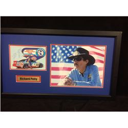 "RICHARD PETTY AUTOGRAPHED 32"" X 18"" FRAMED PHOTO (JSA COA)"
