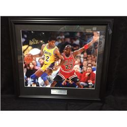 "MAGIC JOHNSON AUTOGRAPHED 30"" X 36"" FRAMED PHOTO VS MICHAEL JORDAN (1991 NBA FINALS) JSA COA"