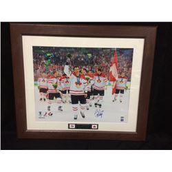"SCOTT NIEDERMAYER AUTOGARPHED 30"" X 36"" FRAMED PHOTO (OLYMPIC GOLD) GAMEDAY COA"