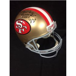 "JERRY RICE AUTOGRAPHED 49ER'S FULL SIZED FOOTBALL HELMET INSCRIBED ""FLASH 80"" G.O.A.T 2010 HOF"