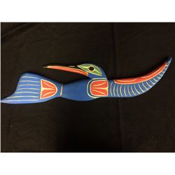 "HAND CARVED NATIVE ART ""HUMMINGBIRD"" BY LAWRENCE ANDREWS (20"" X 6"")"