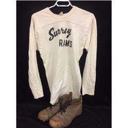 1943 SURREY RAMS FOOTBALL JERSEY & VINTAGE CLEATS