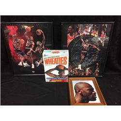 MICHAEL JORDAN FRAMED PHOTO & WHEATIES BOX LOT