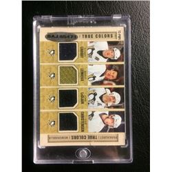 PARKHURST TRUE COLORS MEMORABILIA CARD (CROSBY, LEMIEUX, LeCLAIR, CHRISTENSEN)