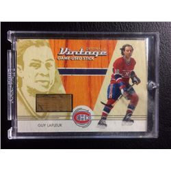 ORIGINAL 6 VINTAGE GAME USED STICK GUY LAFLEUR HOCKEY CARD