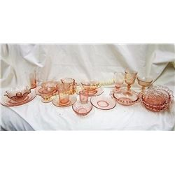 Lot of 21 Pieces of   Pink Depression Glass