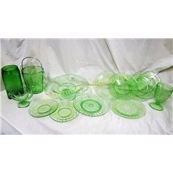 Lot of 13 Pieces Green Depression Glass