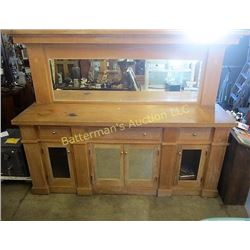 Spruce Bar Back with Beveled Glass Mirror
