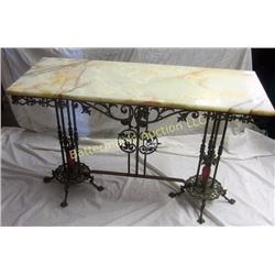 Ornate Brass Sofa Table Marble Top with Glass Vase