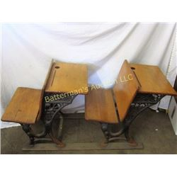 2 School Desks with Iron Detail and Folding Seats