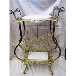 Brass and Marble Victorian Music Stand Table