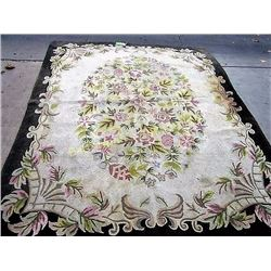 Green/Cream Floral Rug / Nubby