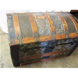 Antique Trunk Wooden and Embossed Metal.