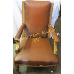 FauxLeather and Wood Lounge Chair with Nail Heads
