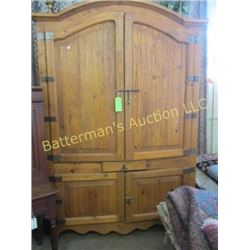 Rustic Armoire with Drawers and Metal Hardware