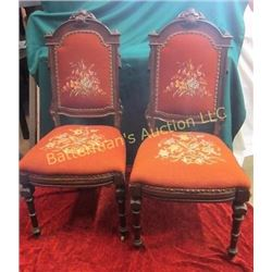 Pair  of  Carved Chairs with Needlepoint