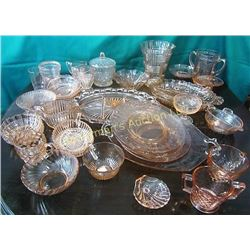 Set of Pink Depression  Glass.  33 Pieces