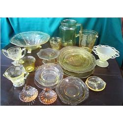 Yellow Depression Glass Lot 19 pcs.