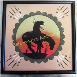 Framed Sand Painting of Warrior on Horse