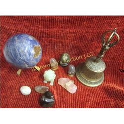 Crystal and Stone Collection, Jade Lion and Bell