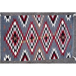 Navajo Rug  Gray-Red-White