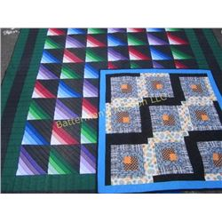 Set of 2 Quilts Blue and Green