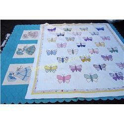 Set of 2 Quilts Butterflies and Ladies
