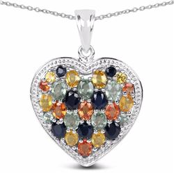 STERLING SILVER MULTI GENUINE STONE HEART PENDANT