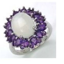 STERLING SILVER MOONSTONE AND AMETHYST RING