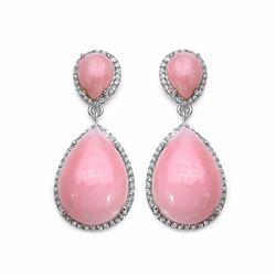 STERLING SILVER PINK OPAL DROP EARRING