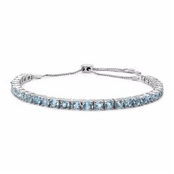 STERLING SILVER BLUE TOPAZ ADJUSTABLE TENNIS BRACELET