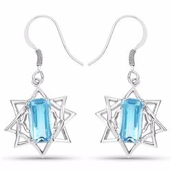 STERLING SILVER SWISS BLUE TOPAZ EARRING