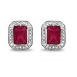 STERLING SILVER OCTAGON RUBY EARRINGS