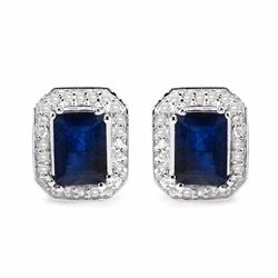 STERLING SILVER OCTAGON SAPPHIRE EARRINGS