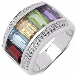 STERLING SILVER MULTI COLOR BAGUETTE SHAPE RING