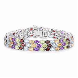 STERLING SILVER MULTI STONE TRIPLE ROW BRACELET