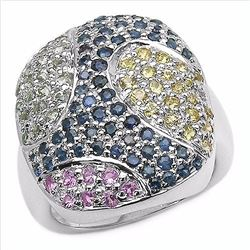 STERLING SILVER MULTI COLOR SAPPHIRE RING