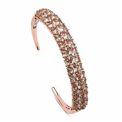 STERLING SILVER MORGANITE AND DIAMOND BANGLE BRACELET
