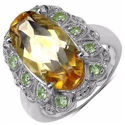 STERLING SILVER CITRINE AND PERIDOT RING