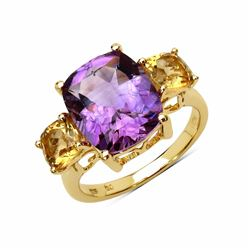 STERLING SILVER BRAZIL AMETHYST AND CITRINE RING