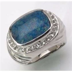 STERLING SILVER CABOCHON OPAL RING