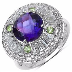 STERLING SILVER AFRICAN AMETHYST AND PERIDOT RING