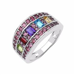 STERLING SILVER MULTI STONE BAGUETTE RING